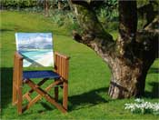 Folding garden chair with printed back panel of Luskentyre beach, Isle of Harris