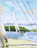 Racing in Fowey Harbour, prints from watercolour by Peter Thwaites