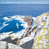 Porthgwarra, Cornish greeting card frofm acrylic painting by Peter Thwaites