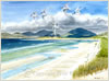 Luskentyre, Isle of Harris, print from watercolour painting by Peter Thwaites